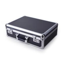 Exquisita caja de equipos de aleación de aluminio negro multiusos