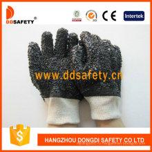 Черный ПВХ грубые перчатки с 100%хлопковая основа Dpv118