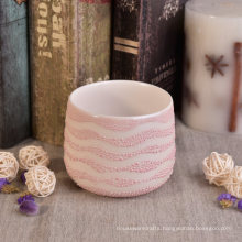 Ceramic Candle Container with Pearl Plating for Garden Decoration