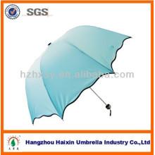 Dentelle bleue Fashion 3 pliage dôme parapluie grande taille