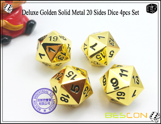 Deluxe Golden Solid Metal 20 Sides Dice 4pcs Set-3