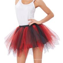Kate Kasin Women's Soft Tulle Netting Red&Black Petticoat Crinoline Underskirt for Retro Vintage Dress KK000447-4