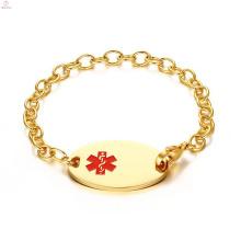 Bracelets médicaux d'identification médicale de placage à la main d'or d'acier inoxydable de timbre de serpent de haute qualité