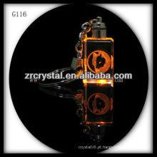 Chaveiro de cristal LED com imagem a laser 3D gravado dentro e em branco chaveiro de cristal G116
