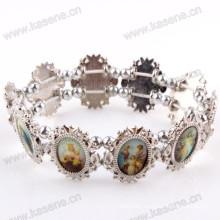Fashion Silver Ellipse Holy Mixed Saint Images Sharp Metal Rosary Bracelet
