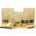 Kraft Zip Lock Stand Bags Pouches with Window
