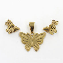 Unique Design Stainless Steel Butterfly Fashion Earrings Pendant Jewelry Set