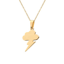 Stainless Steel Gold Chain Lightning Charm Custom Necklace Jewelry