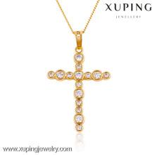 32434- Xuping Jewelry Trendy Charm Christma Gifts 18K colgante cruzado chapado en oro