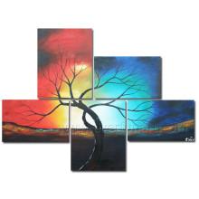 5 pedazos / set Pintura al óleo hecha a mano del árbol del paisaje en lona