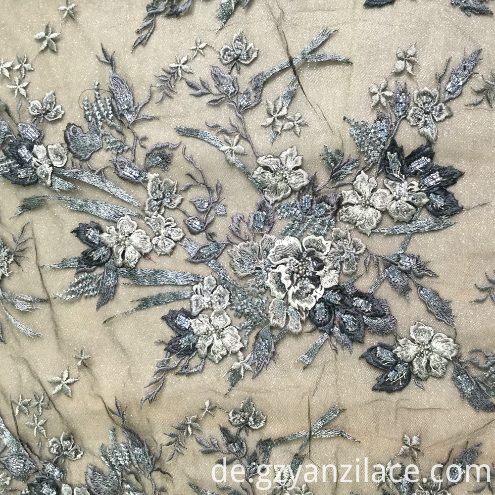 Black Beaded 3D flower Handework Fabric for Dress