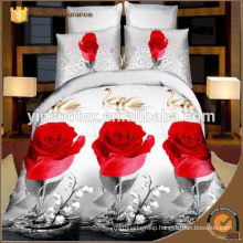 100%Polyester 3D printed textile fabric with big flower for bedsheet/bedding set/mattress
