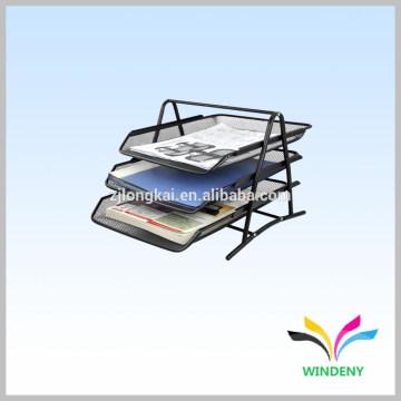 Organizador de escritório preto metal wire Mesh 3-Tier Desk Paper Tray