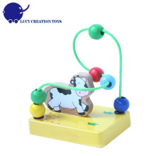 Baby Educational Wooden Cow Mini Bead Maze Toy