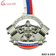 Médaille métal 3D d'usine haltérophilie personnalisé (LM1002)