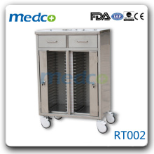 RT002 stainless steel trolley with four castors patient record cabinet