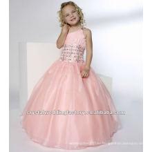 Одно плечо бисером ruched розовый бальное платье юбка на заказ pageant платье девушки цветка платья CWFaf4136