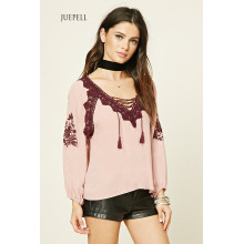National Style Embroidery Long Sleeve Blouse