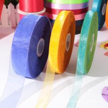 La nueva cinta de seda pura del 100% del poliester / la muestra de la cinta del organza libera