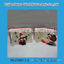 Inicio decoración de Navidad de cerámica LED con estatuilla de libro