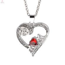 Горячий продавать ювелирные изделия Европа Роуз позолоченные кристаллы сердце кулон ожерелье