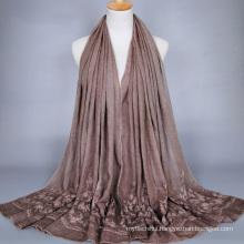 Tingyu wholesale cotton muslim hijab fashion women dresses embroidery flowers floral designs scarf