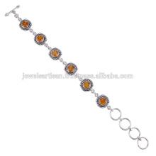 Bracelete de prata esterlina 925 com citrinos naturais