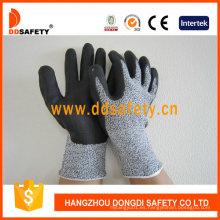 Espuma ultrafinas de nitrilo en guantes de resistencia al corte con dedos en la palma de la mano Dcr420