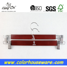 Wooden trousers pants hanger with clips