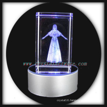 3d laser etched crystal beauty with led base