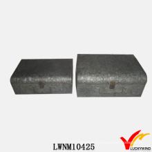 Industrial Vintage Metal Tin Trunk with Lock