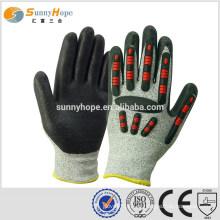 Sunnyhope 13gauge HPPE revestido com PU de luvas de impacto TPR