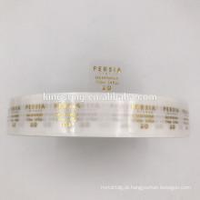 Alta qualidade personalizado claro adesivo logotipo folha de ouro rolo adesivo transparente PET folha de ouro etiqueta autocolante rolo