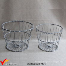 Set 2 Wired Rustic Gray Round Metal Basket