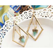 Beautiful Fashion Retro élégante Turquoise Geometric Tassel Boucles d'oreilles pour femmes SSEH013