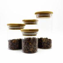 high borosilicate heat resistant round glass jar with bamboo lid Storage-148RL