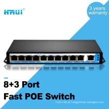 Ethernet rápida inteligente 250 metros oem 48v 11 portas switch poe