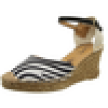 2015 Sapatas superiores da sandália do leopardo da senhora da cunha da sapata da listra da zebra da mulher do salto alto das mulheres