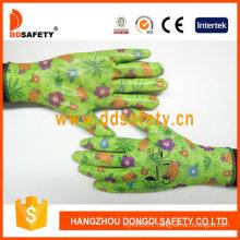 Green Flower Nitrile Coated Garden Working Safety Gloves