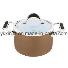 Kitchenware 18cm Coffee Color Aluminum Ceramic Coating Sauce Pot, Cookware, Pasta Pot