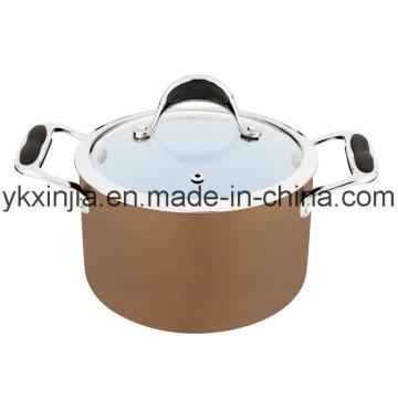 Utensilios de cocina 18cm Café Color Aluminio Cerámica Recubrimiento Salsa Olla, utensilios de cocina, Pasta Pot