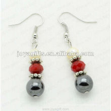 Moda Hematite Round Beads Brinco, contas de hematita e brincos cor prata brinco hematite brincos 2pcs / set