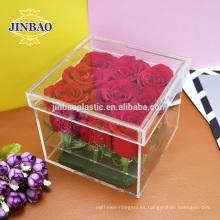 Jinbao claro acrílico caja de presentación 15x15x30 cm tamaño personalizar