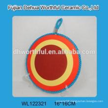 Hot sale simple design ceramic pot mat with rope