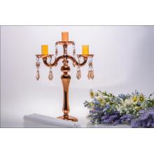 Porte-bougie en verre doré pour décoration de mariage (trois affiches)