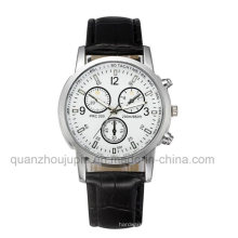 Soem-heiße Verkaufs-Metallhandgelenk-Quarz-Uhr mit Lederarmband