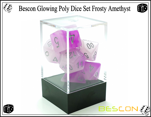 Bescon Glowing Poly Dice Set Frosty Amethyst-3