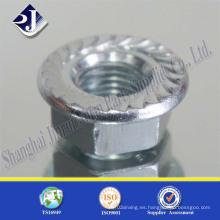 Tuerca de brida hexagonal de zinc de acero al carbono
