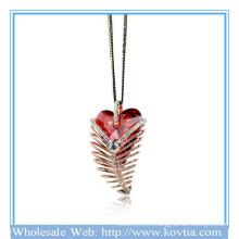 Горячие продажи 18k золото перо форме рубин ожерелье свитер 2014