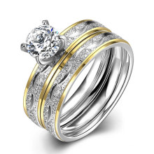 Moda de titanio de acero doble anillo de Zircon redondo anillo de oro diseño de oro para las mujeres